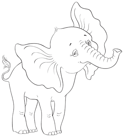 Cute baby elephant standing coloring page. Very hice animal character.  Vector cartoon children illustration