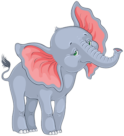 Cute baby elephant standing isolated on white background. Very hice animal character.  Vector cartoon children illustration Ilustração