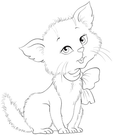 Cute cartoon cheerful kitten coloring page. Adorable little cat. Very hice animal character. Vector children illustration
