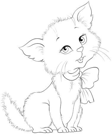 Página para colorear de dibujos animados lindo gatito alegre. Adorable gatito. Muy hecho de carácter animal. Ilustración de niños de vector