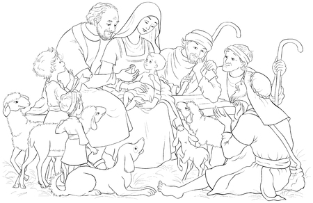 Christmas Nativity Scene with Holy Family (baby Jesus, Mary, Joseph) and shepherds Coloring page Ilustração