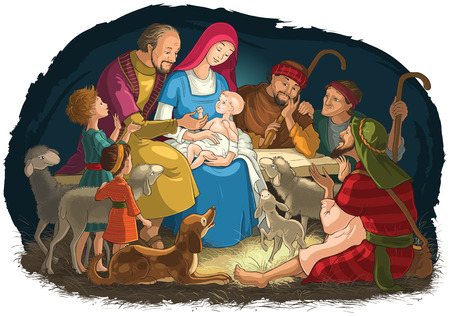 Christmas Nativity Scene with Holy Family (baby Jesus, Mary, Joseph) and shepherds Ilustração