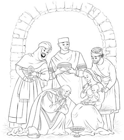 Coloring page of a Nativity scene. Jesus, Mary, Joseph and the Three Kings