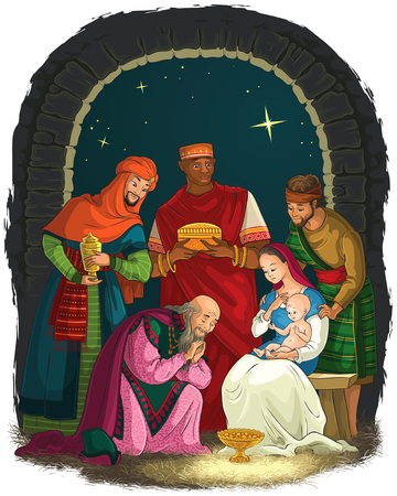 Nativity Scene with Jesus, Mary, Joseph and Three Kings - Wise Men. Christian Christmas illustration