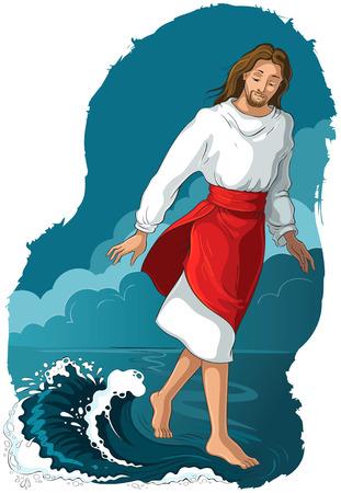 Storia della Bibbia. Gesù che cammina sull'acqua. Illustrazione cristiana del fumetto di vettore. Disponibile anche la versione libro da colorare