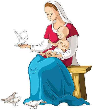 Mother Mary holding baby Jesus vector cartoon christian illustration isolated on white
