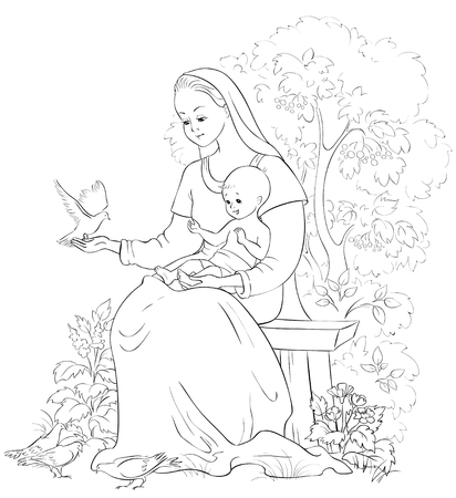 Mary with baby Jesus. Vector cartoon christian coloring page. Also available colored version