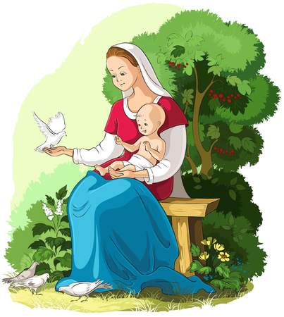 Mother Mary holding baby Jesus vector cartoon christian illustration. Also available coloring book version Ilustração