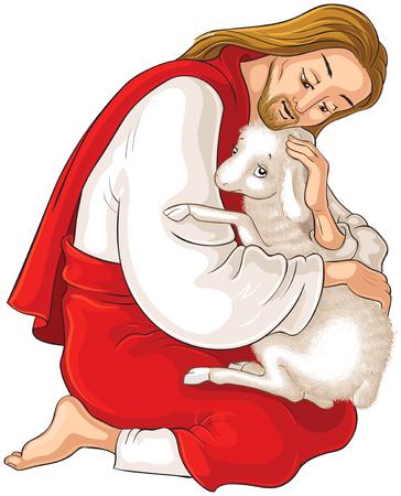 Storia di Gesù Cristo. La parabola della pecora smarrita. Il Buon Pastore che salva un agnello catturato nelle spine isolato su bianco Vettoriali