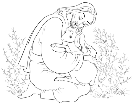 Geschiedenis van Jezus Christus. De gelijkenis van het verloren schaap. De goede herder redt een lam gevangen in doornen Kleurplaat. Ook verkrijgbaar in gekleurde versie