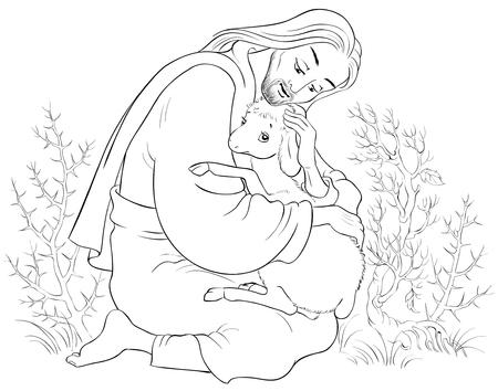 Histoire de Jésus-Christ. La parabole de la brebis perdue. Coloriage Le Bon Pasteur Sauve Un Agneau Pris Dans Des Épines. Existe aussi en version colorée