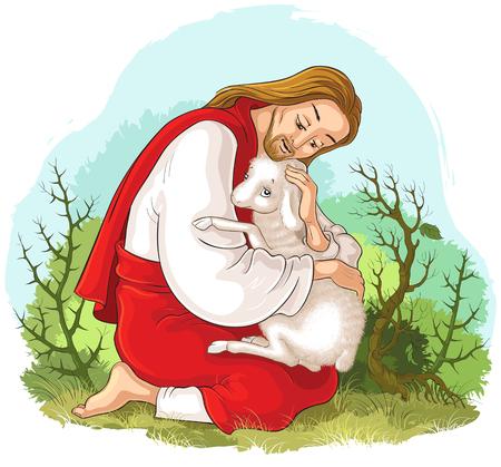 Historia de Jesucristo. La parábola de la oveja perdida. El buen pastor rescatando a un cordero atrapado en espinas. También disponible en versión libro para colorear