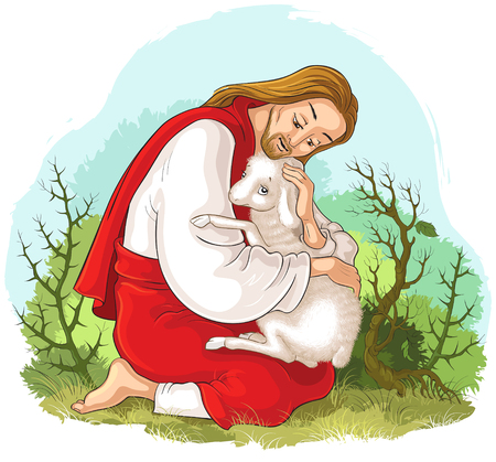 History of Jesus Christ. The Parable of the Lost Sheep. The Good Shepherd Rescuing a Lamb Caught in Thorns. Also available coloring book version Vectores