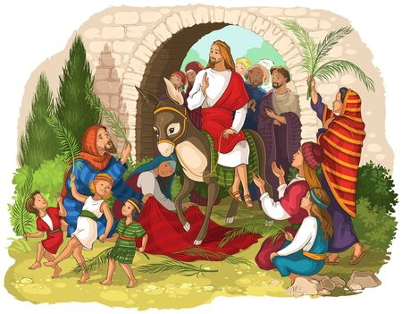 Entry of Our Lord into Jerusalem (Palm Sunday). Jesus Christ riding a donkey 版權商用圖片 - 133415911
