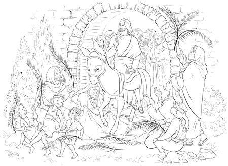 Entry of Our Lord into Jerusalem (Palm Sunday) coloring page Ilustração