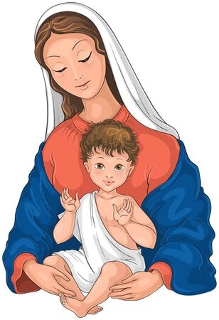 Madonna and Child. Blessed Virgin Mary with Baby Jesus isolated on white