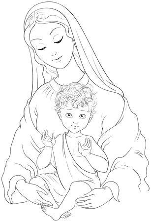 Madonna and Child. Blessed Virgin Mary with Baby Jesus coloring page