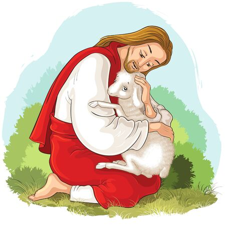 Jesus holding lamb. The Good Shepherd Ilustracja