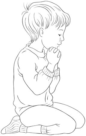 Little Boy Kneeling Down in Prayer with her Hands Folded Coloring Page Illustration