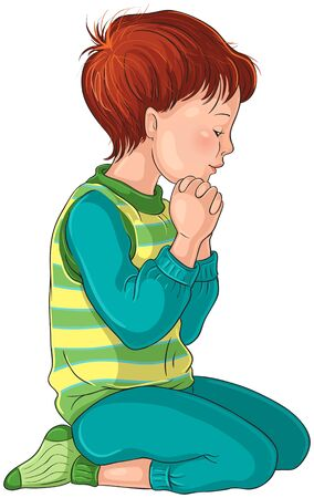 Little Boy Kneeling Down in Prayer with her Hands Folded