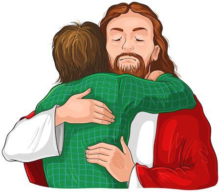 Jesus umarmt Kinderbild. Christliche Illustration der Vektorkarikatur lokalisiert auf Weiß Vektorgrafik