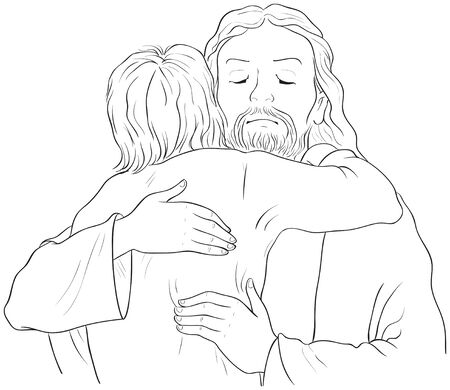 Jesus hugging child black and white illustration. Ilustração