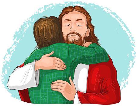 Jesus umarmt Kinderbild. Christliche Illustration der Vektorkarikatur.