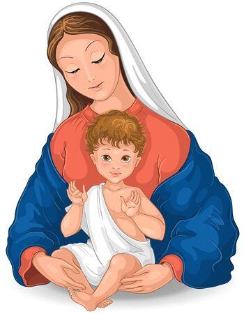 Madonna und Kind. Jungfrau Maria mit Jesuskind Vektor-Cartoon-Illustration isoliert auf weißem Hintergrund