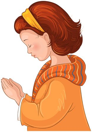 Cute Cartoon Little Girl praying with her hands folded vector illustration isolated on white background