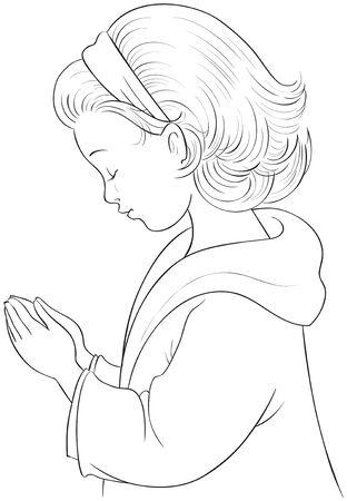 Disegno di Bambina sveglia del fumetto che prega con le mani piegate vettoriale da colorare