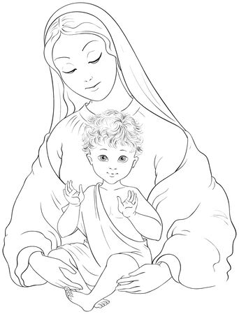 Madonna and Child. Blessed Virgin Mary with Baby Jesus vector cartoon coloring page
