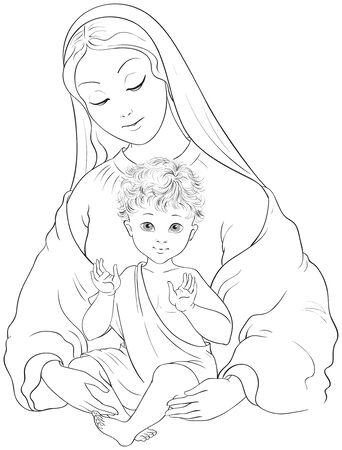 Madonna en Kind. Heilige Maagd Maria met baby Jezus vector cartoon kleurplaat