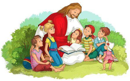 Jésus lisant la Bible avec des enfants isolés sur blanc. Illustration chrétienne de dessin animé de vecteur Vecteurs