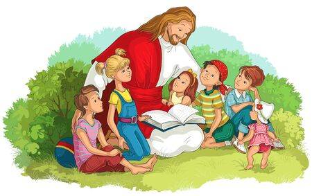 Jesus reading the Bible with Children isolated on white. Vector cartoon christian illustration Ilustração
