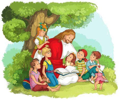Jésus lisant la Bible avec des enfants. Illustration chrétienne de dessin animé de vecteur