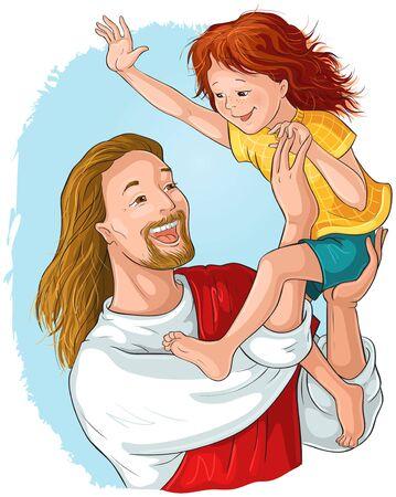 Lachender Jesus hält glückliches Kind in seinen Armen christliche Illustration der Vektorkarikatur
