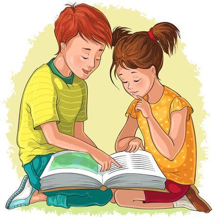 Children read the book. Vector cartoon illustration