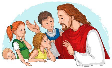 Jesus Christ talking to children. Vector cartoon illustration Vecteurs