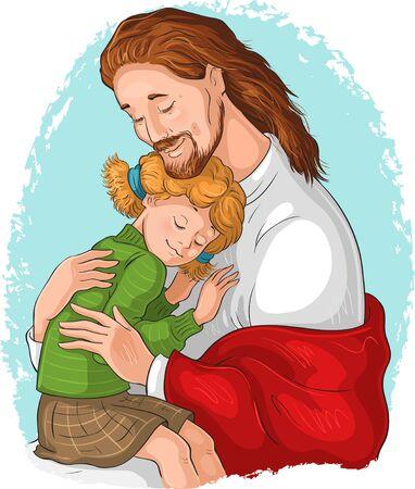The Embrace of God. Jesus hugging girl. Vector cartoon christian illustration Ilustração Vetorial