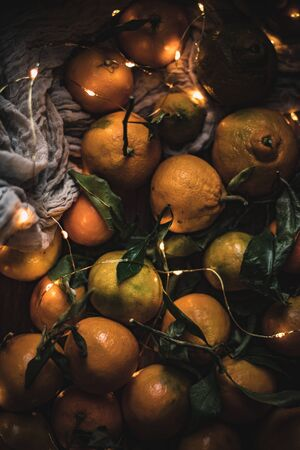 Festive clementines on a winter time