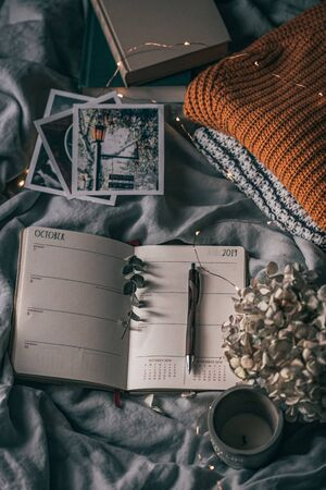 Cozy autumn flatlay. Warm sweaters, planner, copper light and fluffy kitty is relaxing on the bed. 免版税图像