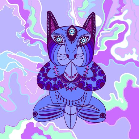 Blue cat with beads sitting in the lotus position Illustration