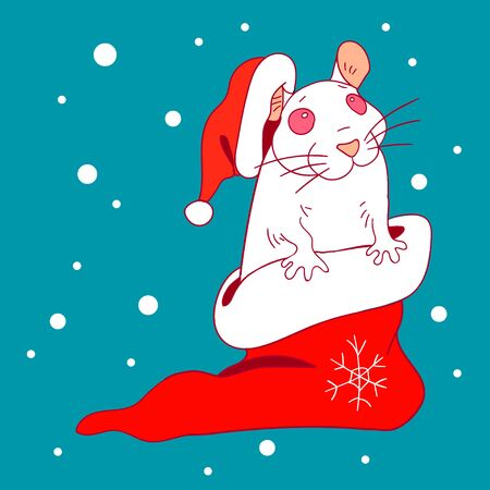 year of rat: The white rat in a New Year cap and sock sitting in the snow