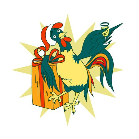 Smart cock with a glass of champagne and celebratory gift. He wishes us a Happy New Year Illustration
