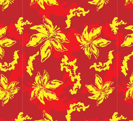 flamy: Seamless pattern with lily, red background and spots Illustration