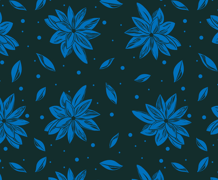 Seamless pattern with blue lotus, petals and with dark background