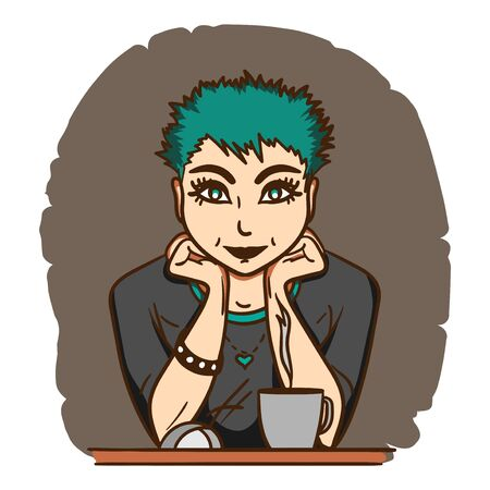 green hair: Pretty girl with green hair sitting in front of monitor with a cup of tea
