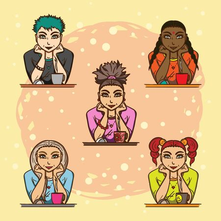 colleen: Five different lovely girls sitting in front of monitor with a cup of tea Illustration