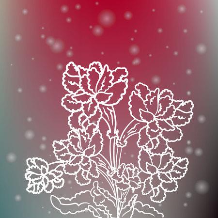 Elegant sparkling flowers on blurred background
