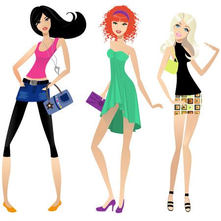 nude blonde girl: three modern girls on a white background Illustration